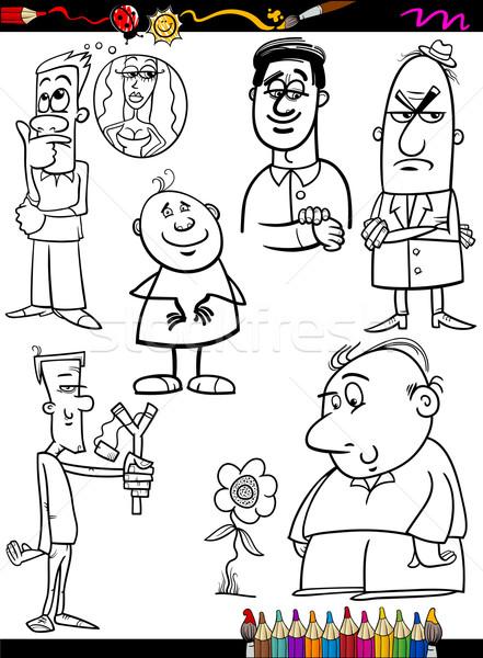 people set cartoon coloring page Stock photo © izakowski