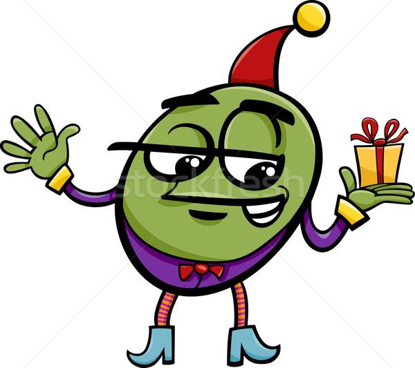 elf or gnome with gift cartoon Stock photo © izakowski