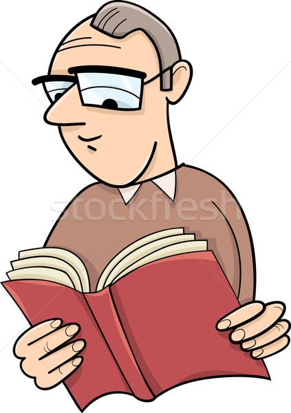 Olvasó könyv rajz illusztráció szemüveg vicces Stock fotó © izakowski