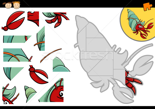 cartoon hermit crab jigsaw game Stock photo © izakowski