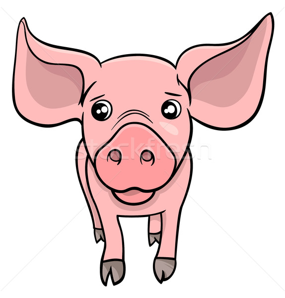 Porc porcelet cartoon illustration cute Photo stock © izakowski