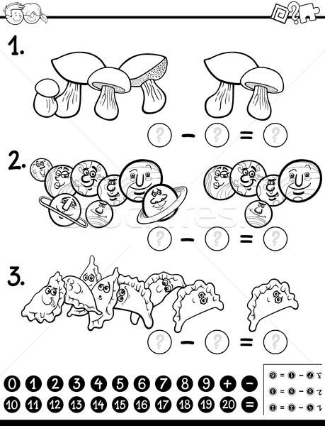 Odejmowanie matematyka działalność strona czarno białe cartoon Zdjęcia stock © izakowski