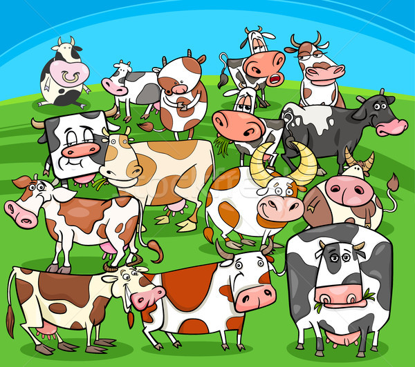 cartoon cows farm animals group Stock photo © izakowski