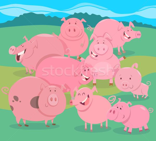 flock of pigs farm animal characters group Stock photo © izakowski