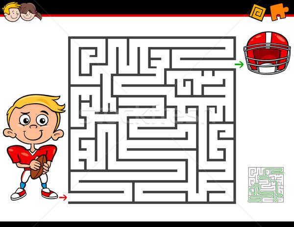 cartoon maze activity with boy and football Stock photo © izakowski