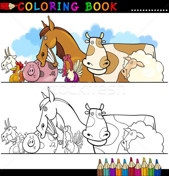 Farm and Livestock Animals for Coloring Stock photo © izakowski