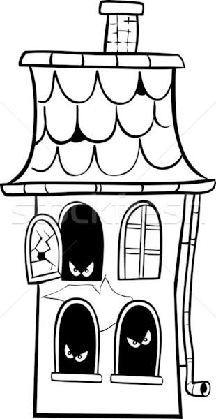haunted house cartoon for coloring Stock photo © izakowski