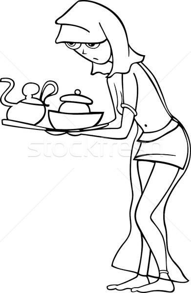 メイド スレーブ 女性 漫画 実例 黒白 ストックフォト © izakowski