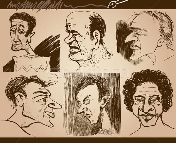 people faces caricature drawings set Stock photo © izakowski