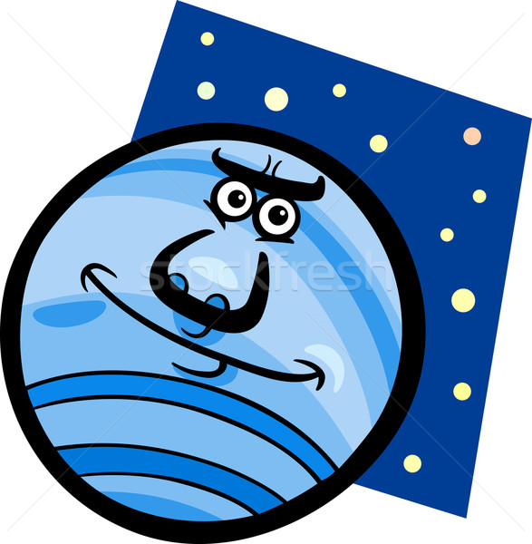 funny neptune planet cartoon illustration Stock photo © izakowski