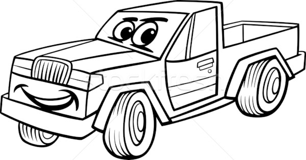 pickup car cartoon coloring page Stock photo © izakowski