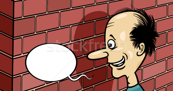 Praten muur cartoon humor illustratie gezegde Stockfoto © izakowski