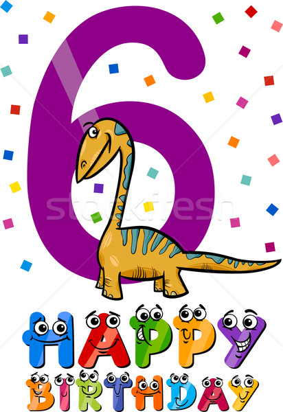 sixth birthday cartoon design Stock photo © izakowski