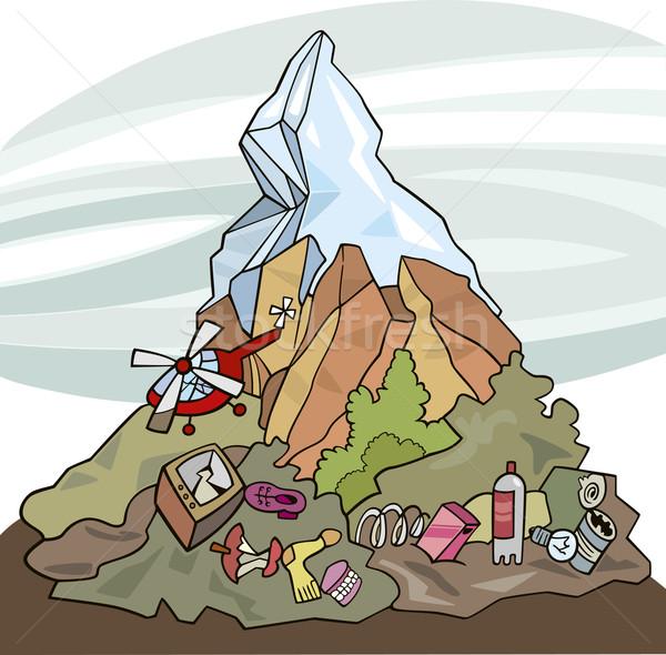 Ambiental contaminación ilustración montana basura alrededor Foto stock © izakowski