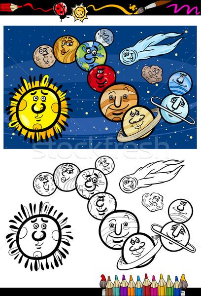 Sistemul solar desen animat carte de colorat ilustrare culoare Imagine de stoc © izakowski