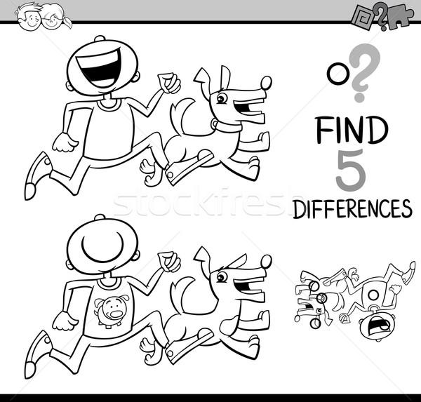 Differenze compito libro da colorare bianco nero cartoon illustrazione Foto d'archivio © izakowski