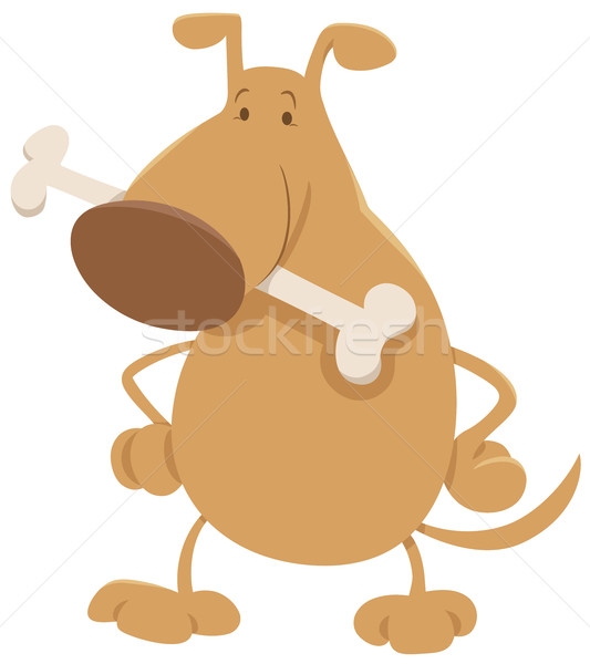 Dog bone cartoon illustratie gelukkig hond dier Stockfoto © izakowski