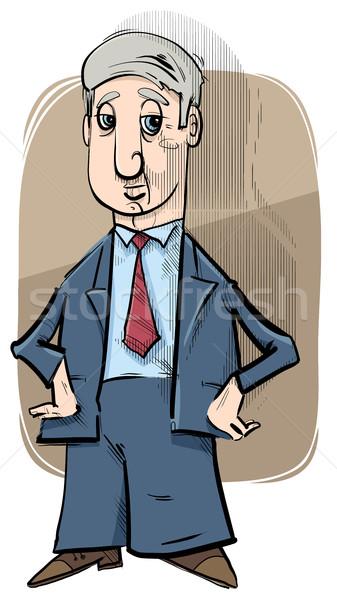 Empresario caricatura dibujo ilustración carácter gerente Foto stock © izakowski