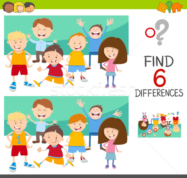 Place différences enfants cartoon illustration Photo stock © izakowski