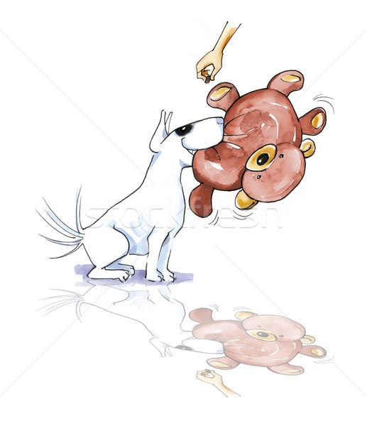 Bull terrier with teddy bear Stock photo © izakowski