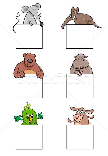 cartoon animal characters with cards set Stock photo © izakowski