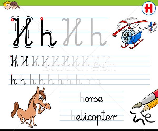 how to write letter H worksheet for kids Stock photo © izakowski
