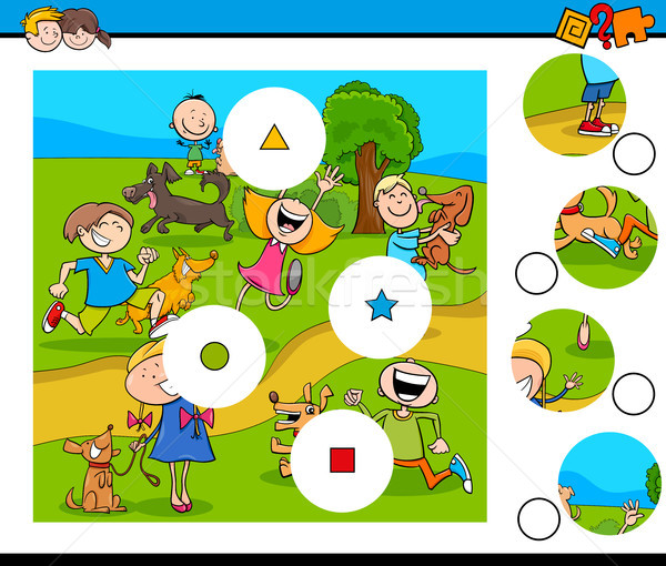 Match pièces puzzle enfants animaux de compagnie cartoon Photo stock © izakowski