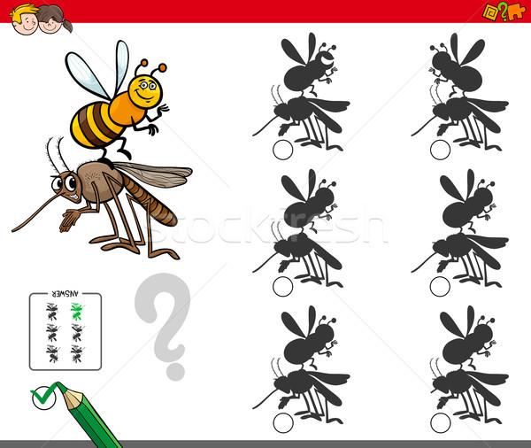 Schatten Aktivität Spiel Karikatur Insekten Illustration Stock foto © izakowski