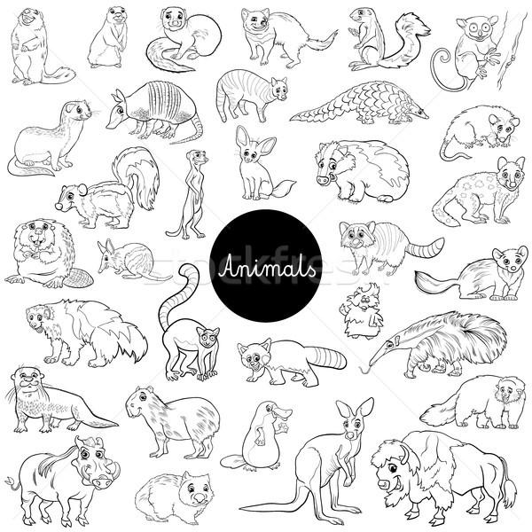 wild mammals animal characters set color book Stock photo © izakowski