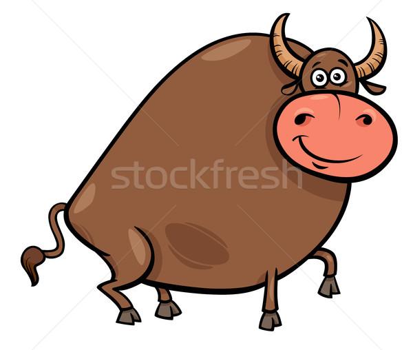 Stier karakter cartoon illustratie grappig Stockfoto © izakowski