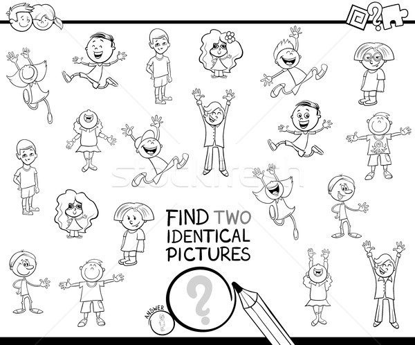 find two identical kids pictures coloring book Stock photo © izakowski