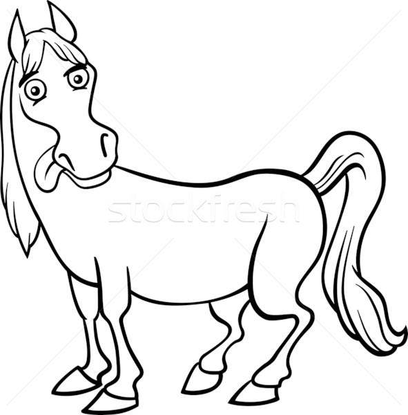 çiftlik At Karikatür Boyama Kitabı Siyah Beyaz