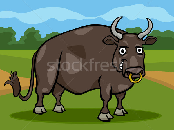 bull farm animal cartoon illustration Stock photo © izakowski