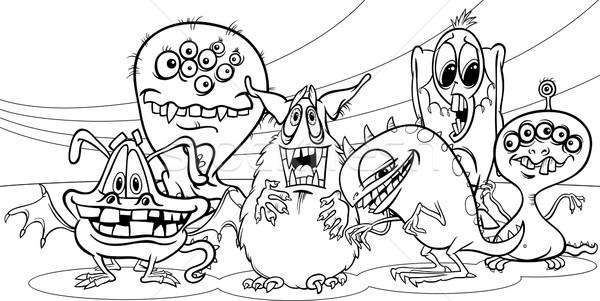 cartoon monsters group coloring page Stock photo © izakowski