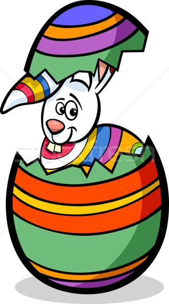 Bunny easter egg cartoon illustratie grappig kleurrijk Stockfoto © izakowski