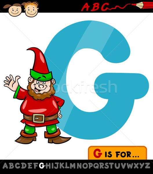 Gnome cartoon illustrazione alfabeto Foto d'archivio © izakowski