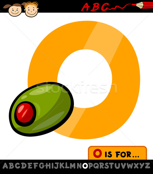 letter o with olive cartoon illustration Stock photo © izakowski