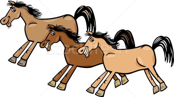 horses or mustangs cartoon illustration Stock photo © izakowski