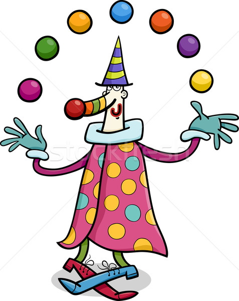 circus clown juggler cartoon illustration Stock photo © izakowski