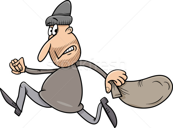 running thief cartoon illustration Stock photo © izakowski