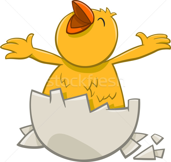 little chicken cartoon character Stock photo © izakowski