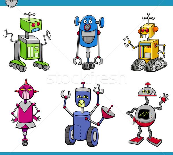Stockfoto: Robot · cartoon · ingesteld · illustratie · robots