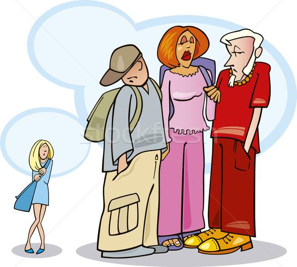 Félénk lány illusztráció lány barátok iskola barátok Stock fotó © izakowski