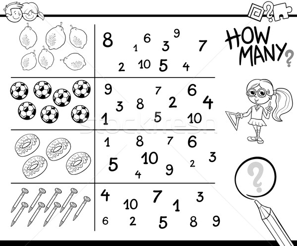 Stock photo: counting activity coloring page