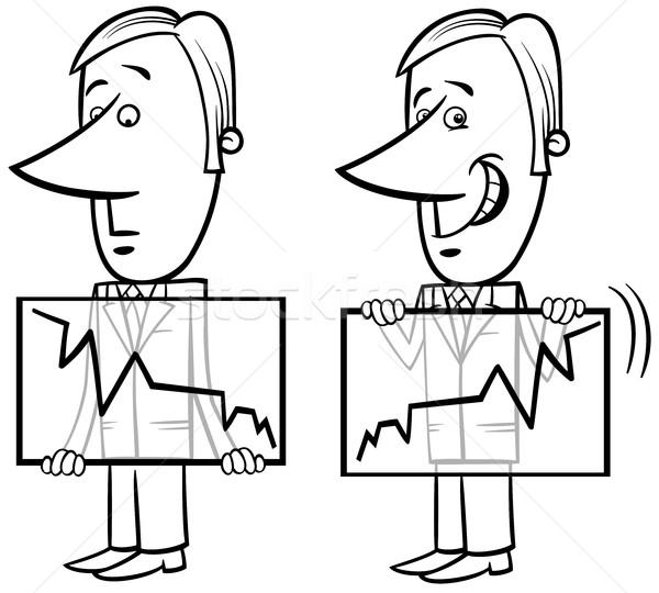 businessman and chart cartoon Stock photo © izakowski