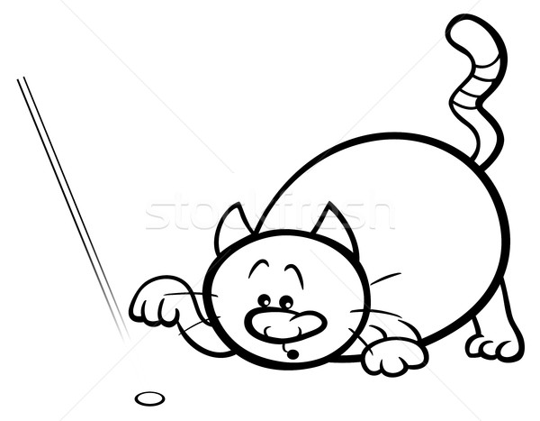 cat play with laser coloring page Stock photo © izakowski