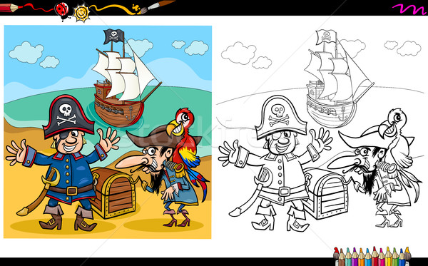 pirates with treasure coloring page Stock photo © izakowski