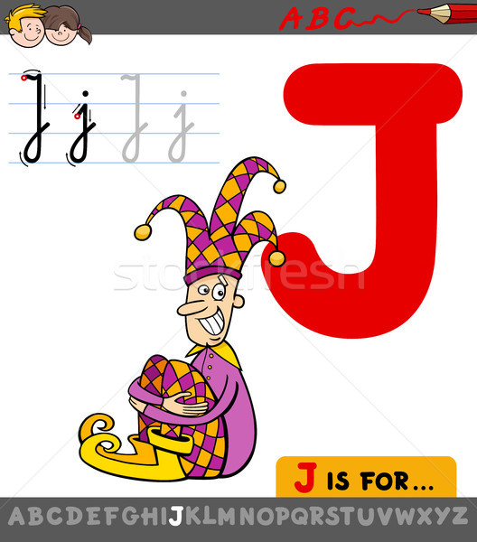 letter j with cartoon jester character Stock photo © izakowski