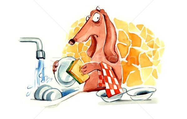dog washing the dishes Stock photo © izakowski
