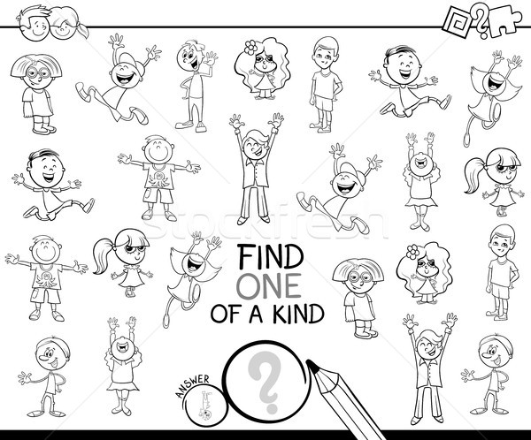 one of a kind game with children coloring book Stock photo © izakowski